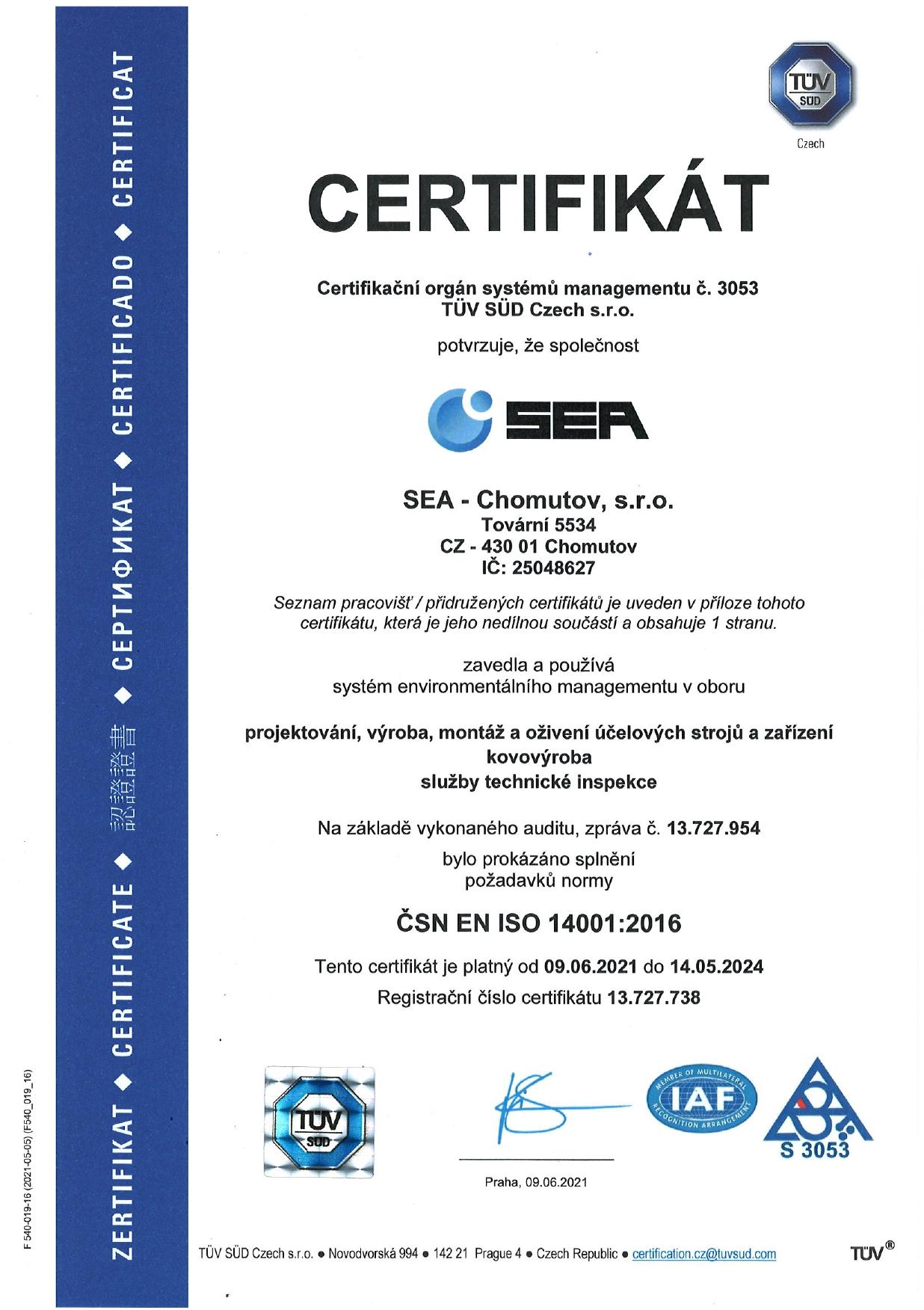 Certifikát systému environmentálního managementu podle ČSN EN ISO 14001:2016