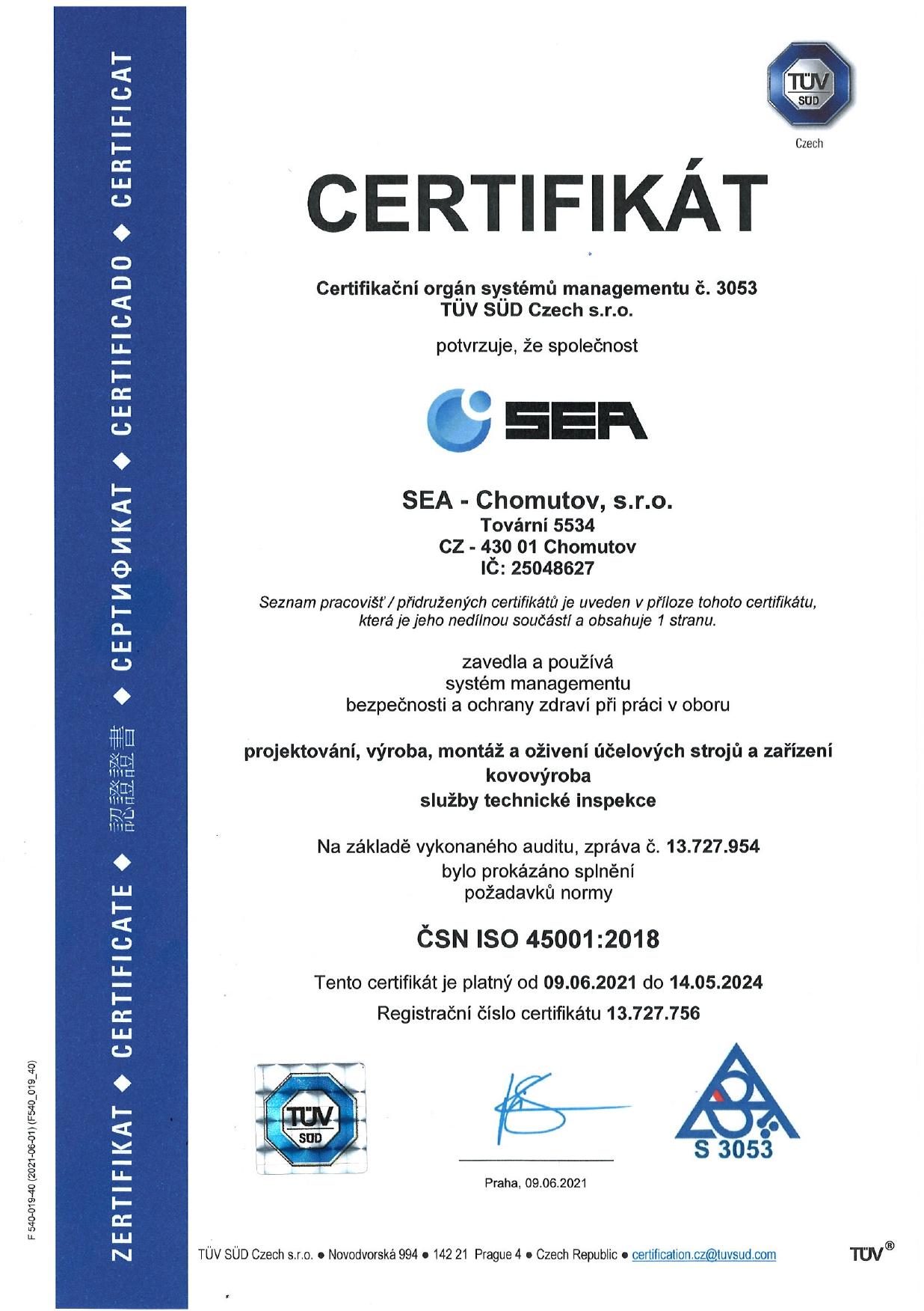 Certifikát systému managementu bezpečnosti a ochrany zdraví při práci podle ČSN ISO 45001:2018