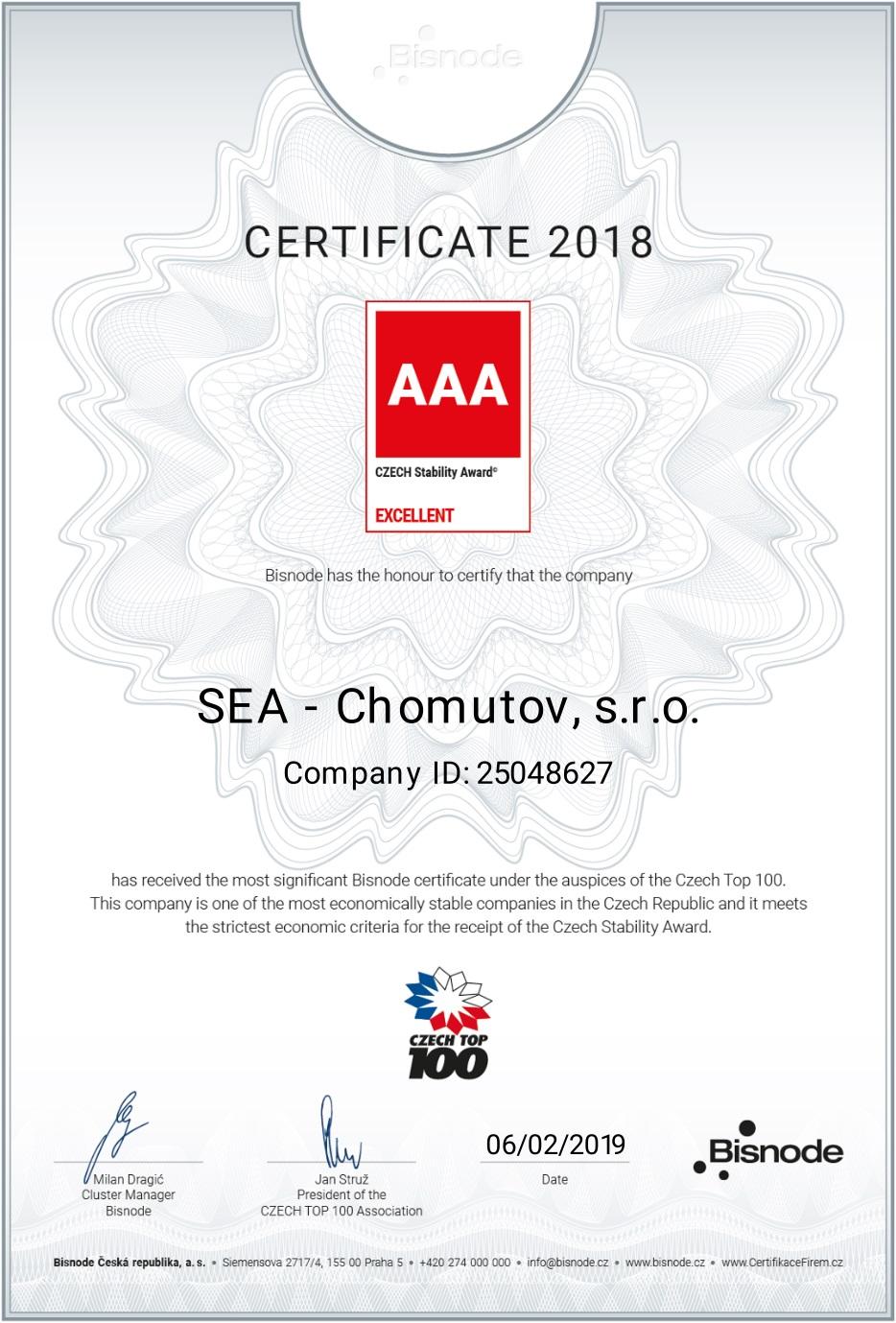CZECH TOP 100 - certificate CZECH Stability Award AAA EXCELLENT