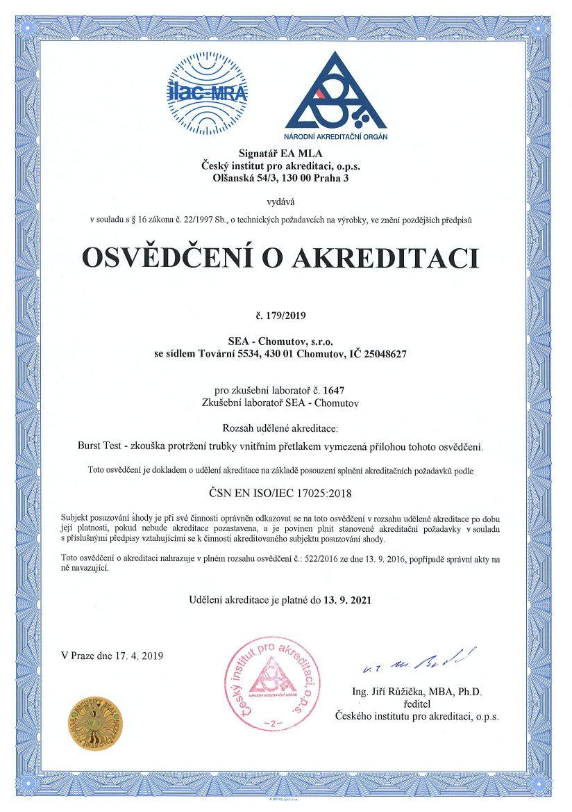 Osvědčení o akreditaci podle ČSN EN ISO/IEC 17025