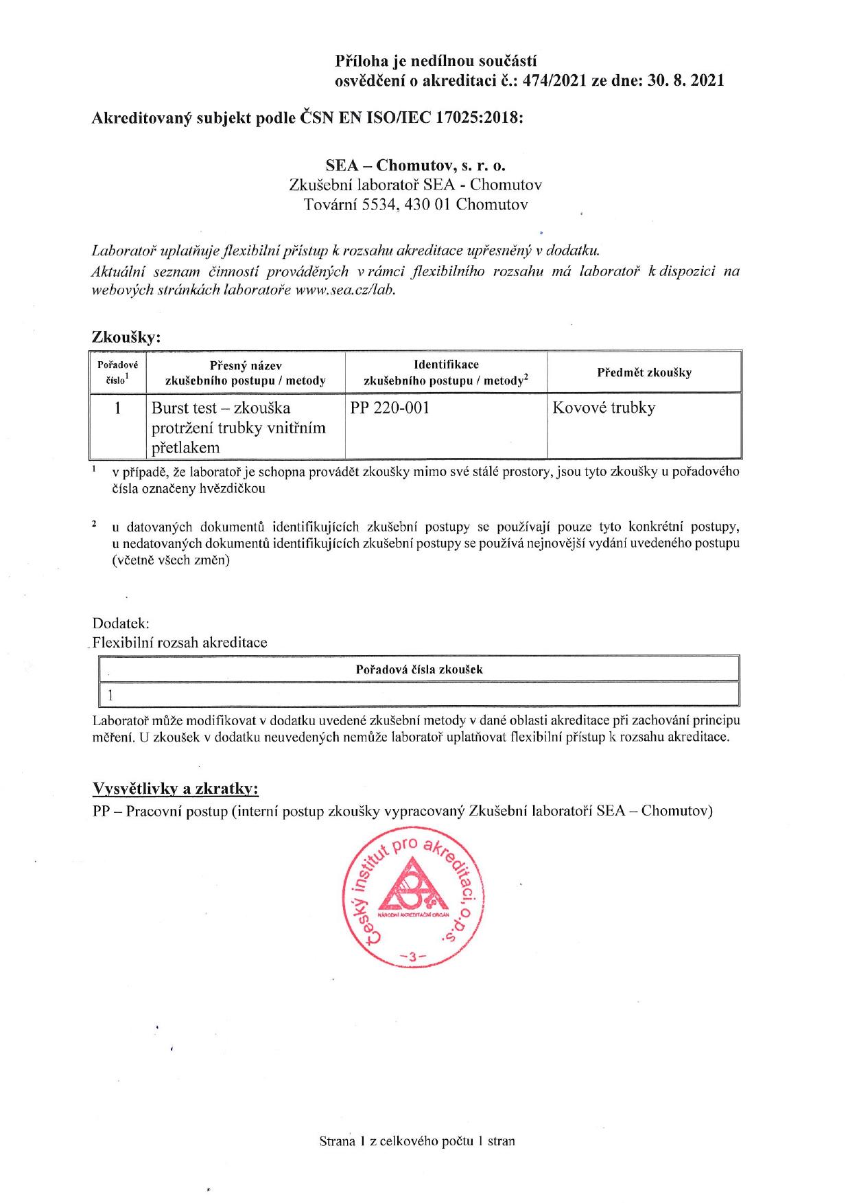 Příloha k osvědčení o akreditaci dle ČSN EN ISO/IEC 17025