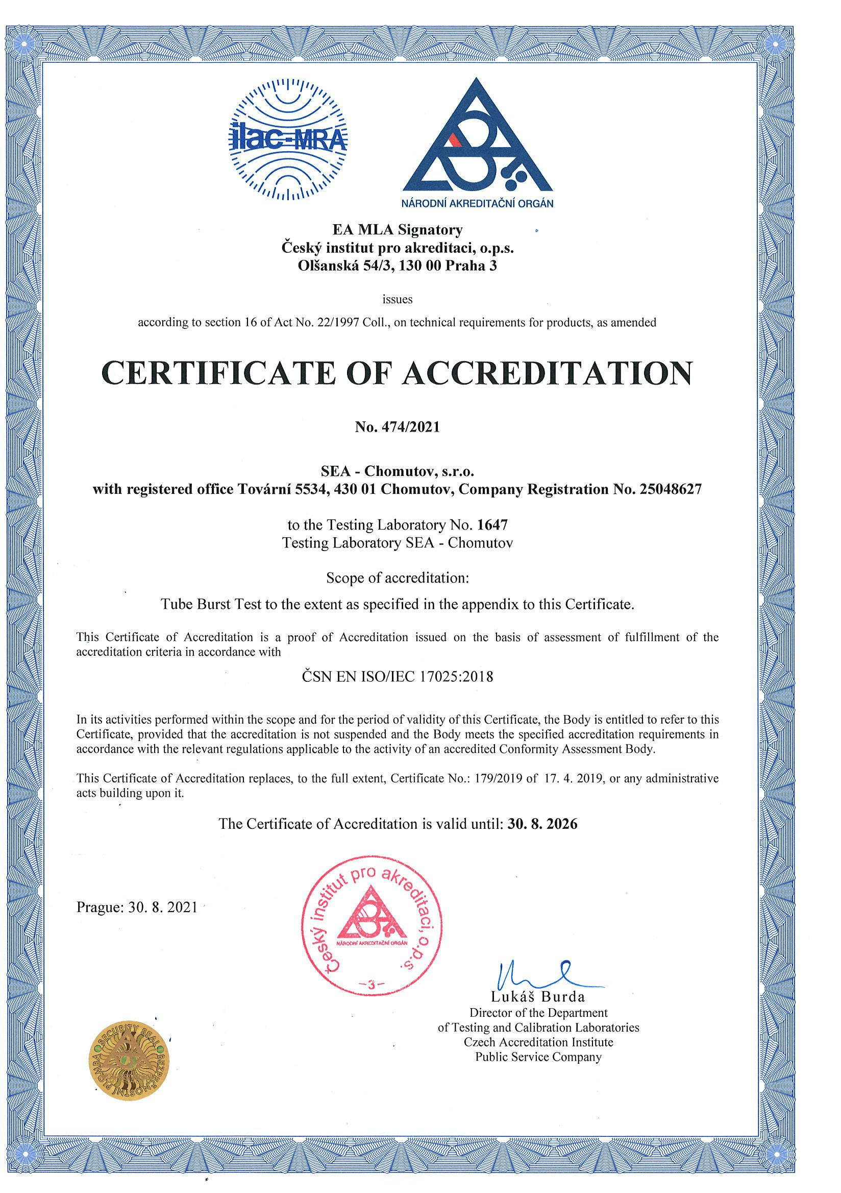 Certificate of accreditation of testing laboratory according to ČSN EN ISO / IEC 17025:2005