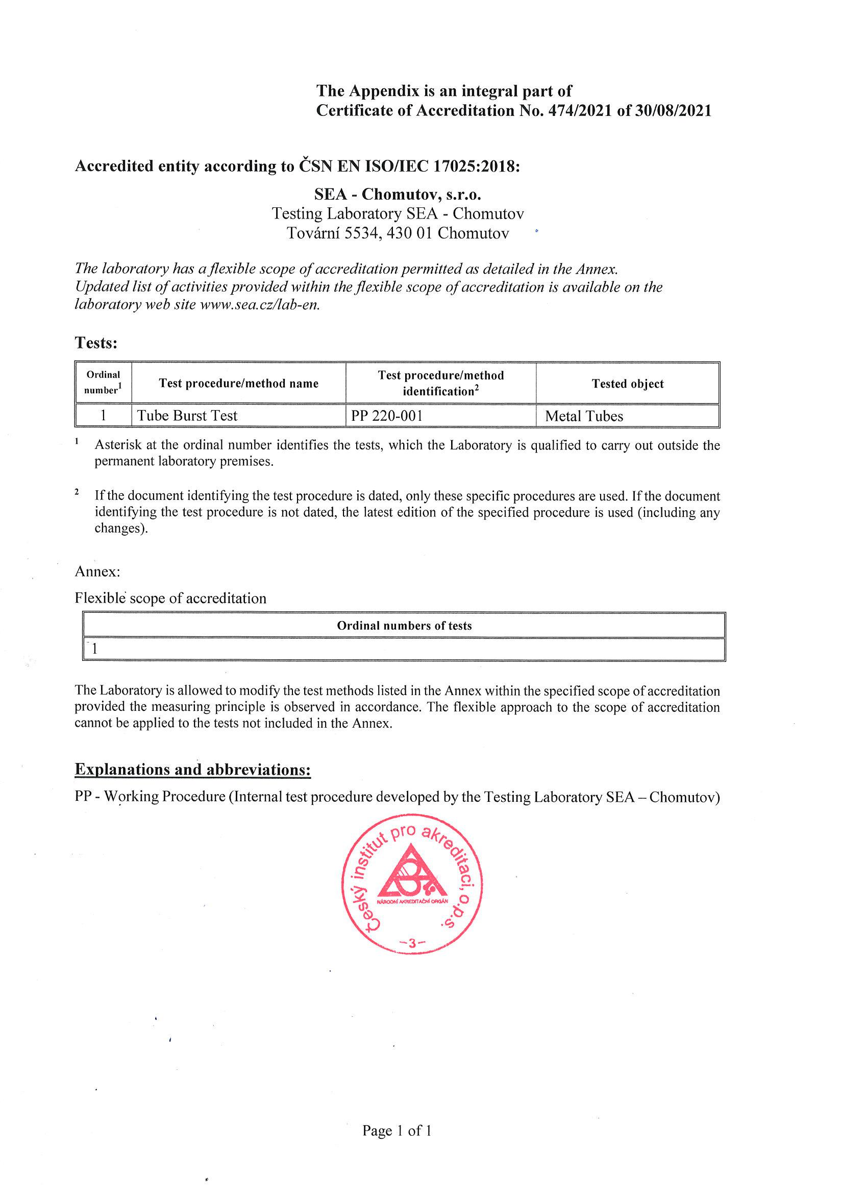 Appendix to the certificate of accreditation of testing laboratory according to ČSN EN ISO / IEC 17025:2005
